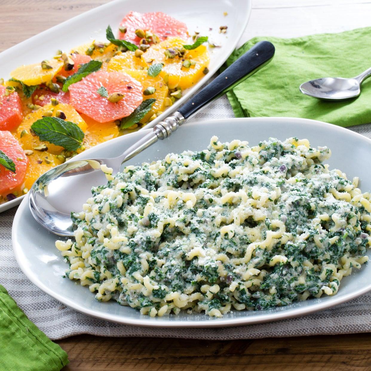 Ricotta & Spinach Pasta with Orange, Hazelnut & Mint Salad