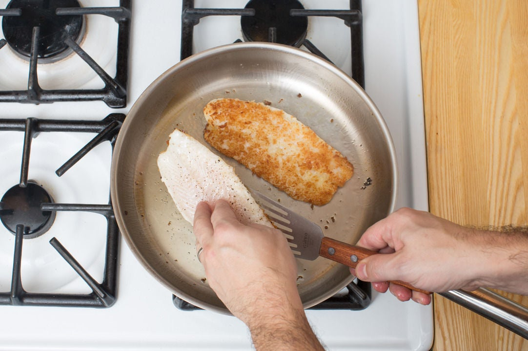 Bread & cook the tilapia: