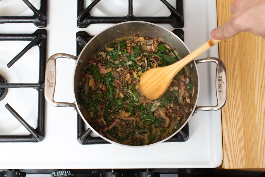 Cook the vegetables & add the lentils: