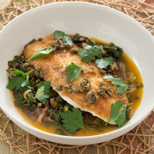 Tilapia Meunière with Moroccan-Spiced Lentils & Rainbow Chard