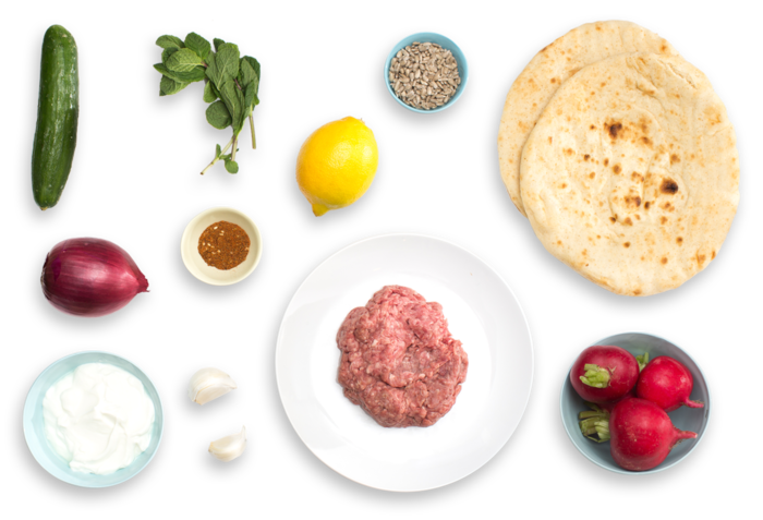 Lamb & Beef Shawarma with Creamy Radish Salad ingredients