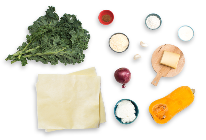 Three-Cheese Cannelloni with Butternut Squash & Kale ingredients
