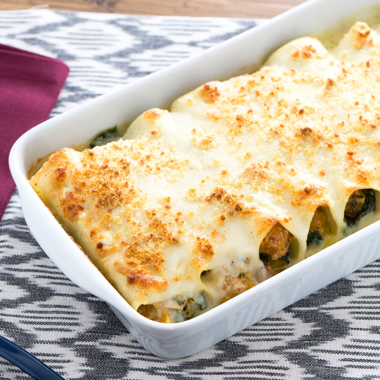 Three-Cheese Cannelloni with Butternut Squash & Kale