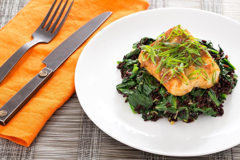Miso Yuzu-Glazed Cod  with Black Rice &  Water Spinach