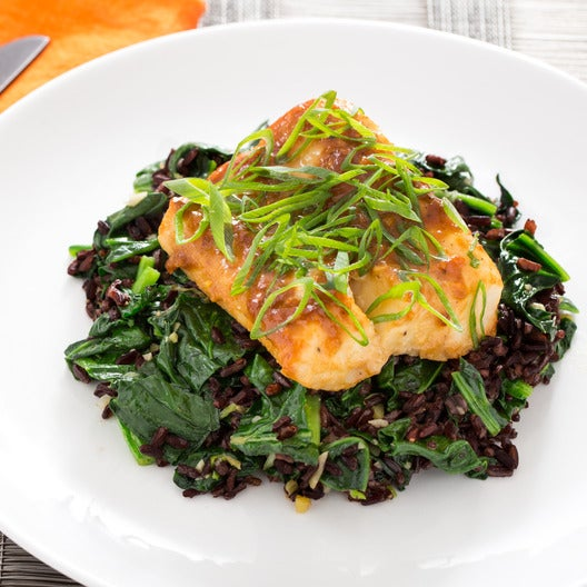 Miso Yuzu-Glazed Cod  with Black Rice &  Water Spinach