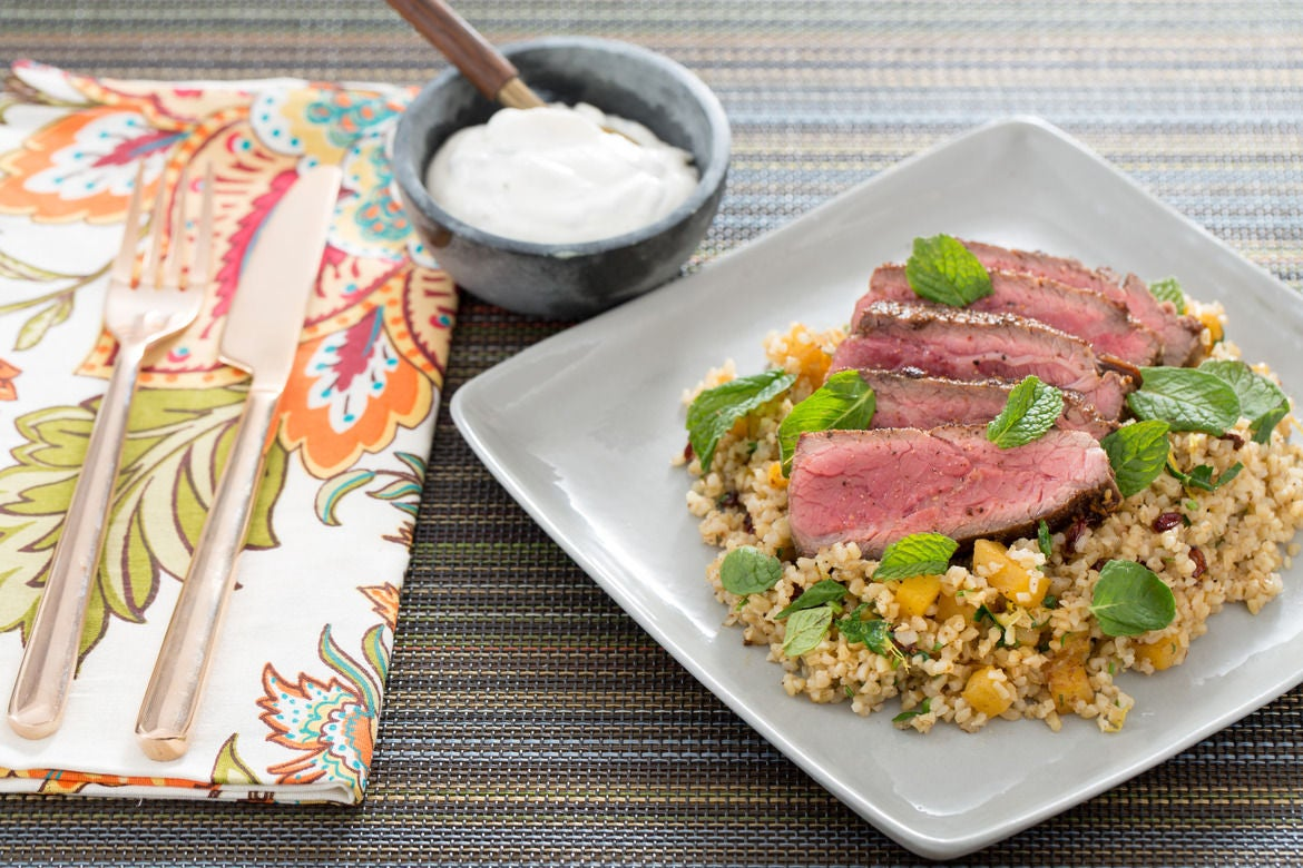 Za'atar-Spiced Steaks with Rutabaga-Barberry Tabbouleh & Labneh Cheese