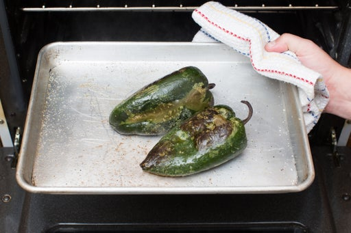 Roast the poblano peppers: