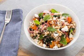 Sumac-Roasted Sweet Potato & Farro Salad with Pickled Onion & Hazelnuts