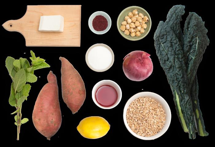 Sumac-Roasted Sweet Potato & Farro Salad with Pickled Onion & Hazelnuts