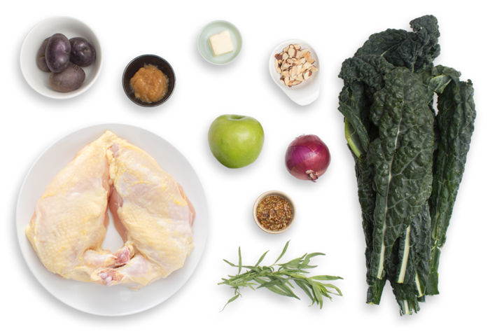 Pan-Roasted Chicken with Lacinato Kale & Purple Potato Hash ingredients