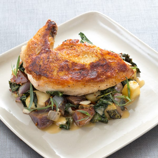 Pan-Roasted Chicken with Lacinato Kale & Purple Potato Hash