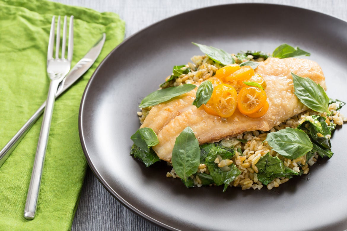 Crispy Catfish & Cracked Freekeh with Kumquat, Thai Basil & Chile Glaze