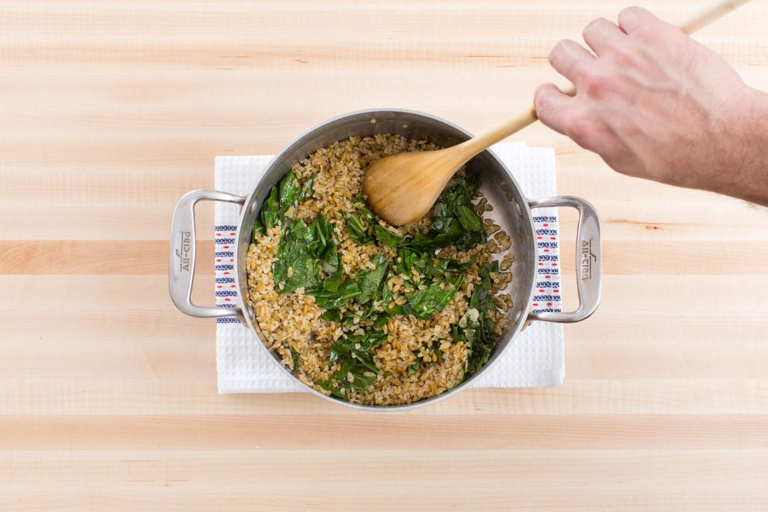 Dress the freekeh & plate your dish:
