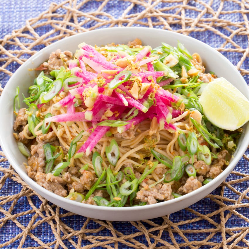 Pork Dan Dan Noodles with Watermelon Radish & Garlic-Lime Peanuts