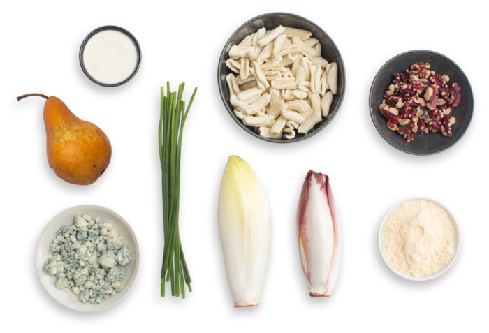 Fresh Cavatelli Pasta with Endive, Pear & Gorgonzola Cheese ingredients