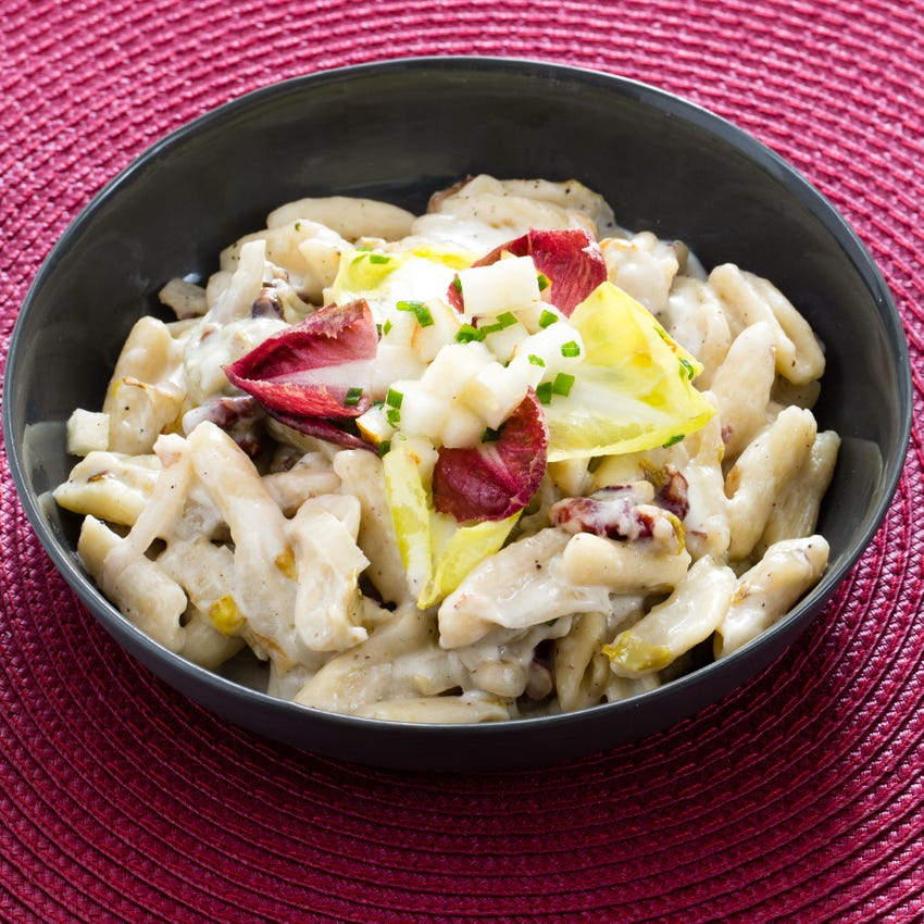 Fresh Cavatelli Pasta with Endive, Pear & Gorgonzola Cheese