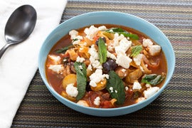 Greek Sweet & Sour Stew with Rainbow Chard & Fingerling Potatoes