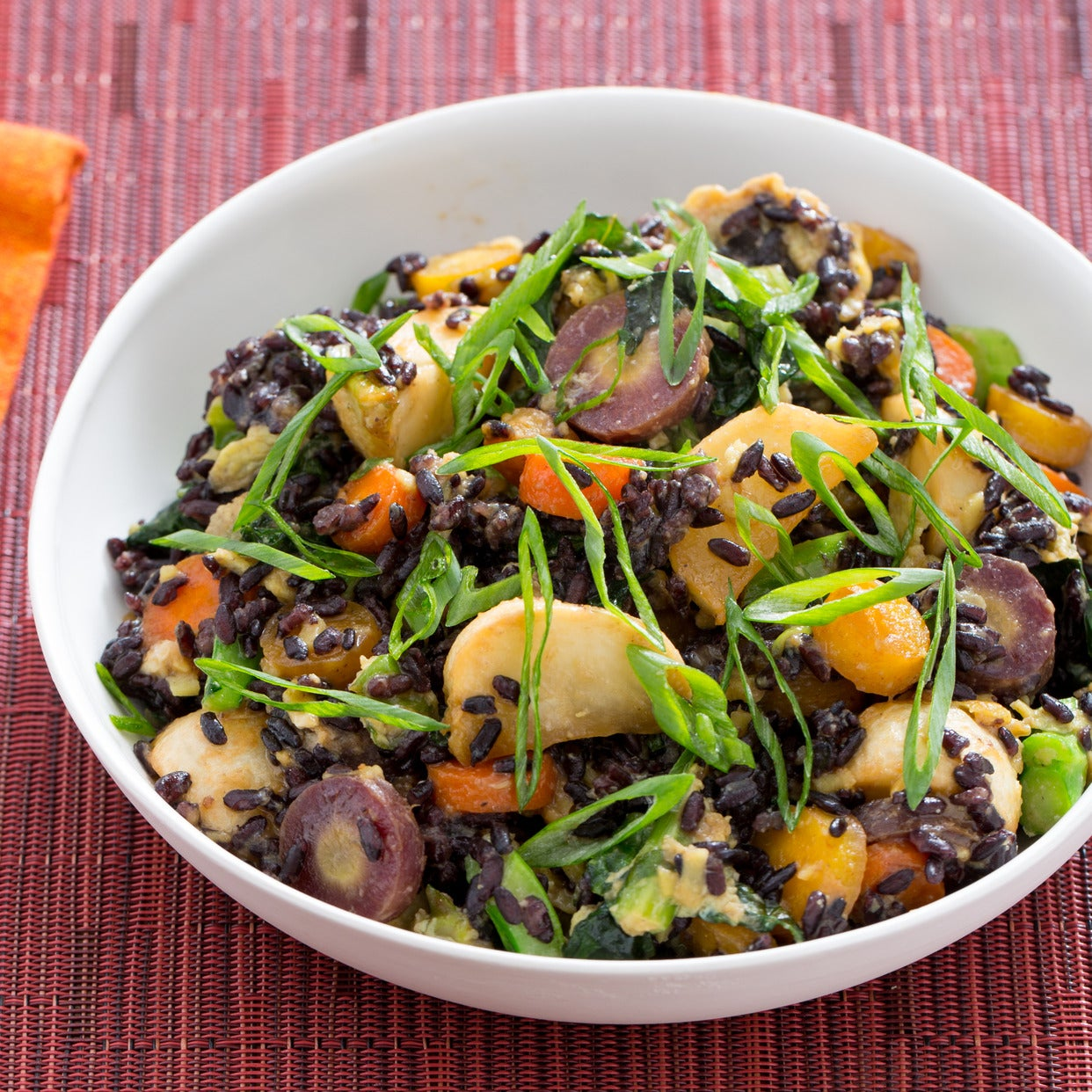 Stir-Fried Black Rice with Miso-Roasted Carrots & Tokyo Turnips