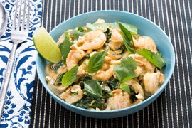 Tom Yum-Style Shrimp & Noodles with Gai Lan & Thai Basil