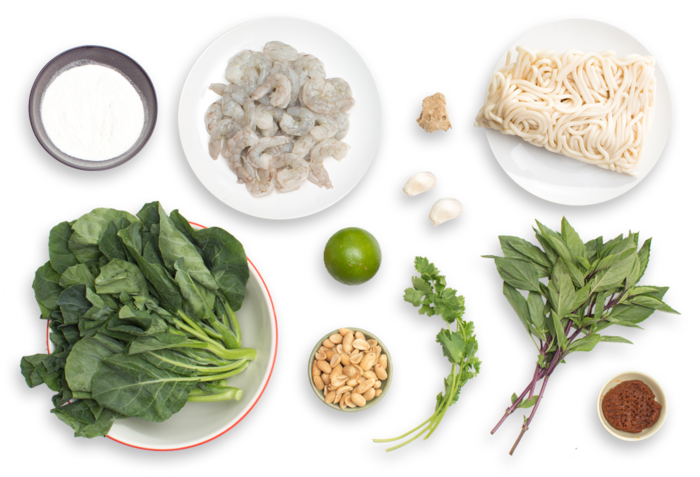 Tom Yum-Style Shrimp & Noodles with Gai Lan & Thai Basil ingredients