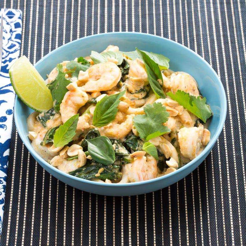 Tom Yum-Style Shrimp & Noodles with Gai Lan & Thai Basil