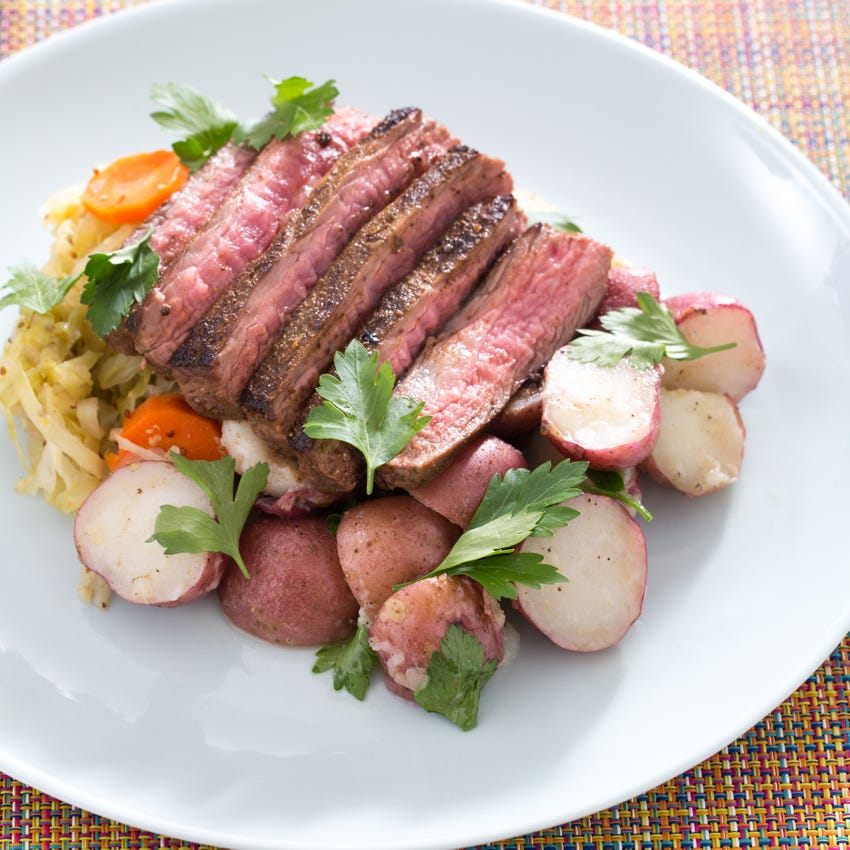 Corned Beef-Spiced Flank Steaks with Braised Cabbage & Buttered Red Potatoes