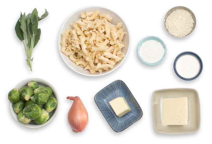 Baked Fontina Pasta with Brussels Sprouts & Sage Breadcrumbs ingredients