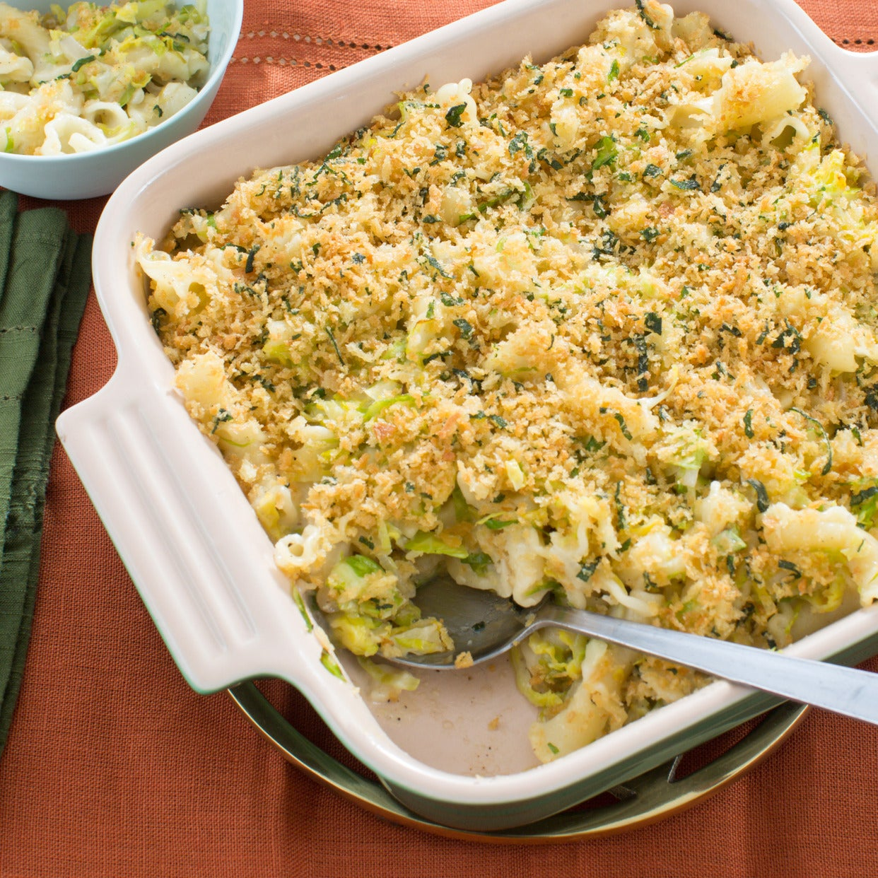 Baked Fontina Pasta with Brussels Sprouts & Sage Breadcrumbs
