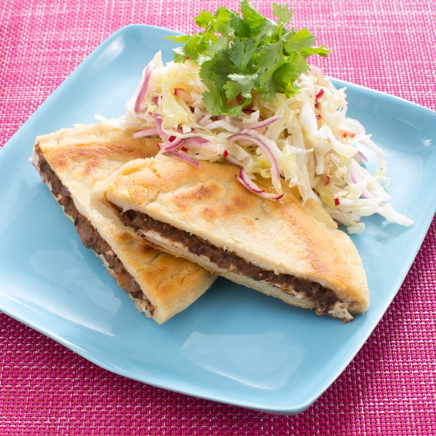 Salvadoran Black Bean & Cheese Pupusas with Cabbage & Radish Curtido