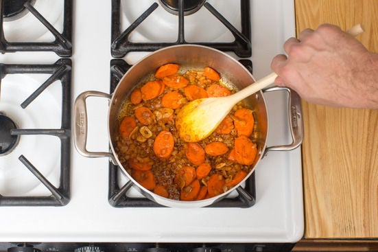 Cook the aromatics & carrots: