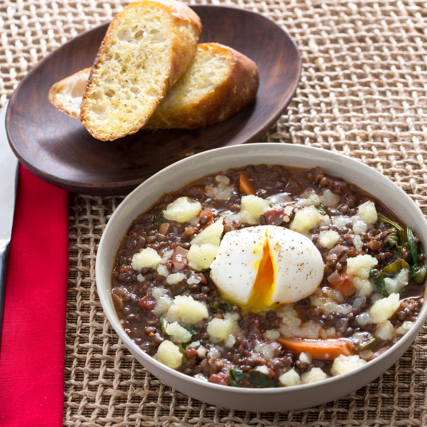 Smoky Beluga Lentils with Garlic Toast & Soft-Boiled Eggs