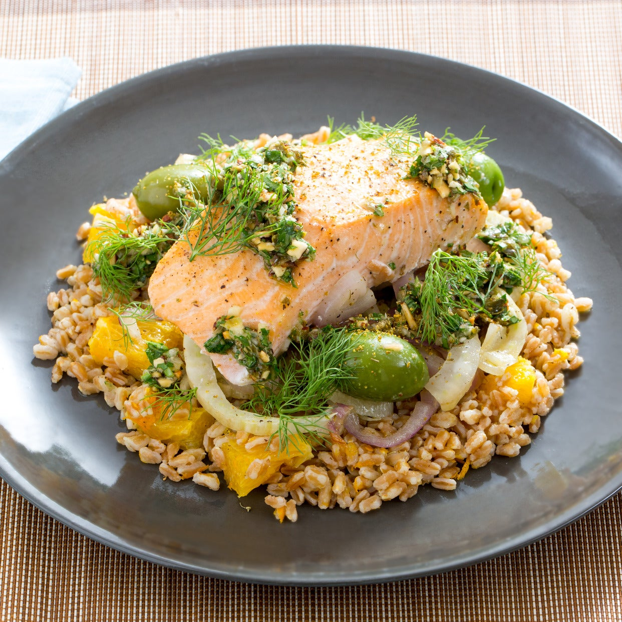 Roasted Salmon, Fennel & Castelvetrano Olives with Cara Cara Orange, Farro & Salsa Verde