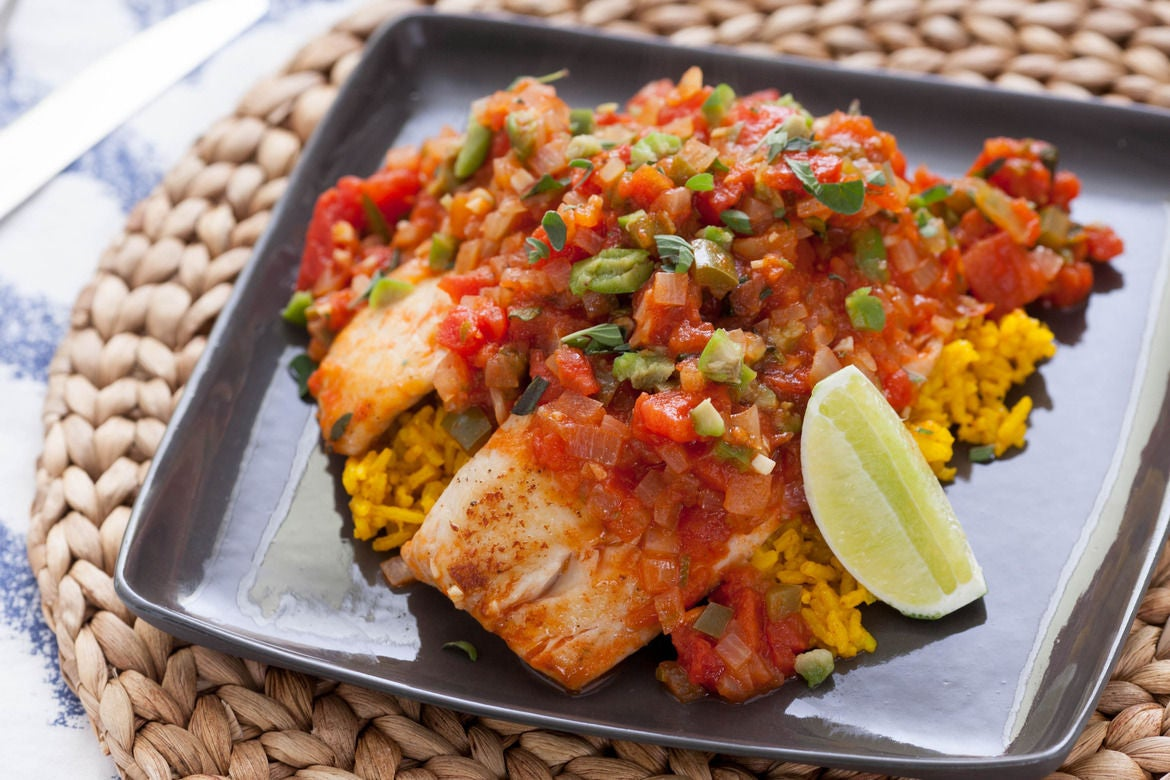Recipe tilapia veracruzana with yellow rice blue apron for Rice recipes to go with fish