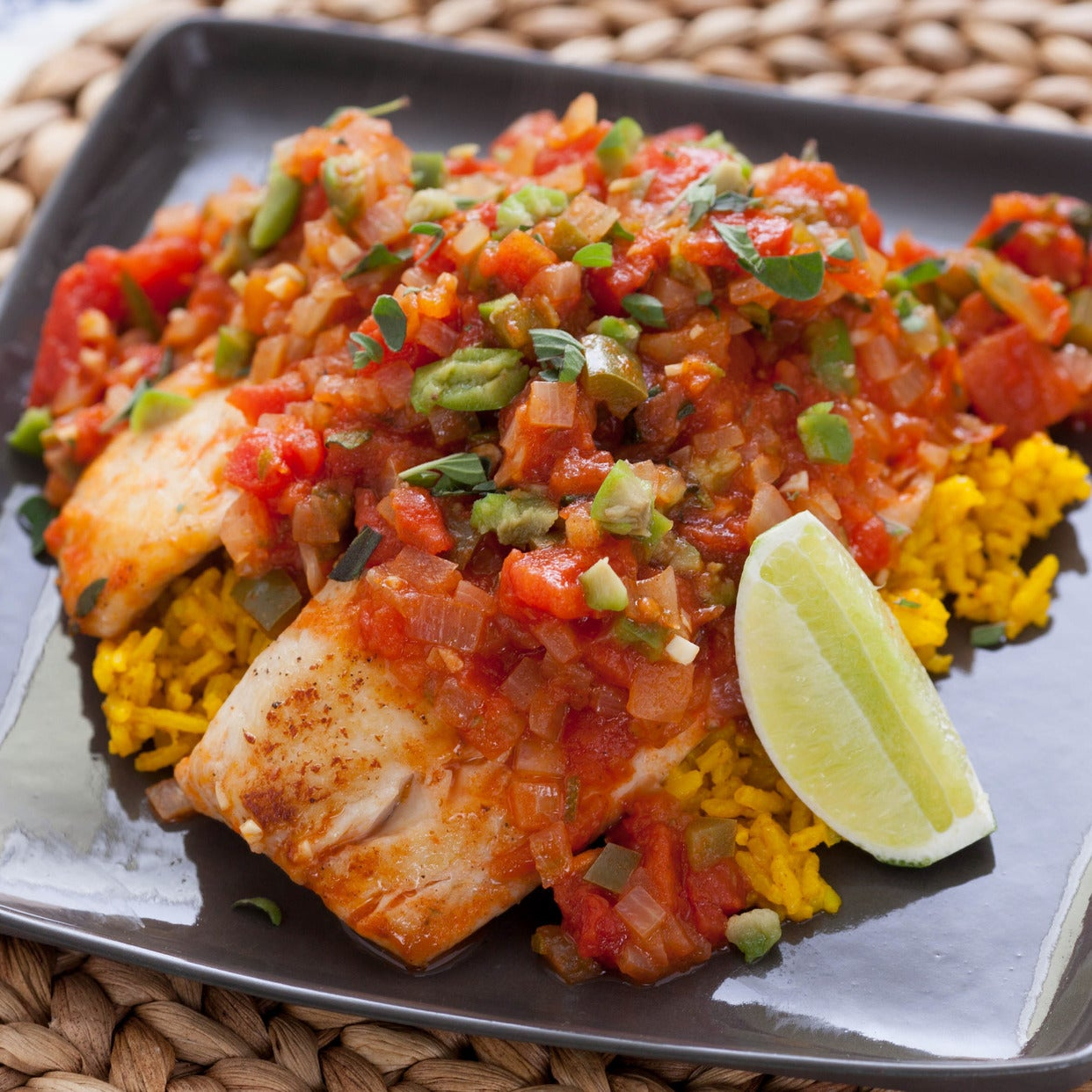 Tilapia Veracruzana with Yellow Rice