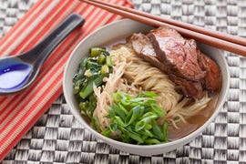 Beef Ramen Noodle Soup with Choy Sum and Enoki Mushrooms