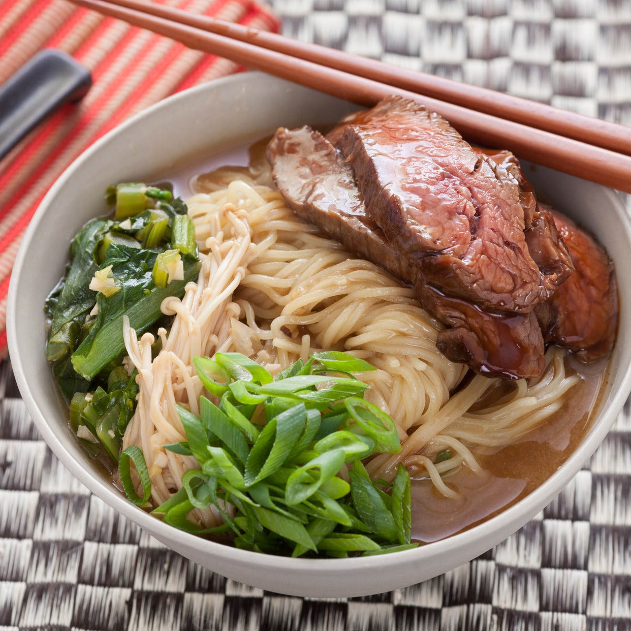 Recipe: Beef Ramen Noodle Soup with Choy Sum and Enoki ...