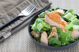 Salmon Caesar Salad with Homemade Sourdough Croutons