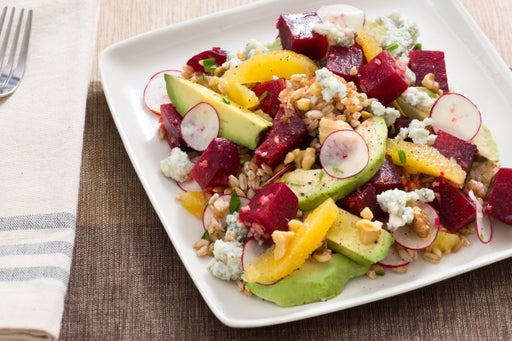 Warm Grain Salad  with Beet, Orange, Avocado & Gorgonzola