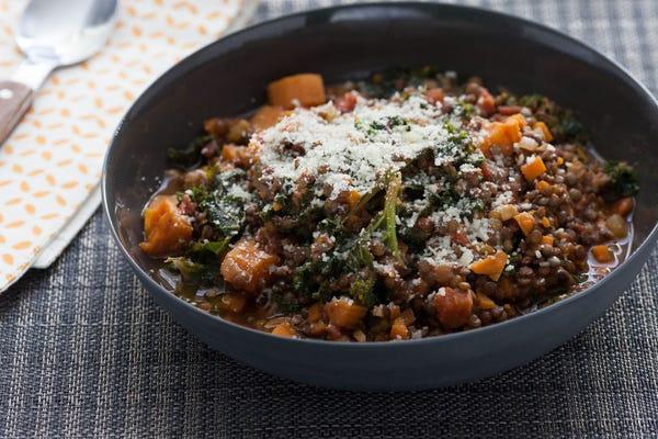 Braised Beluga Lentils  with Kale & Rosemary