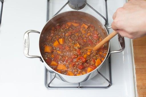 Braise the lentils: