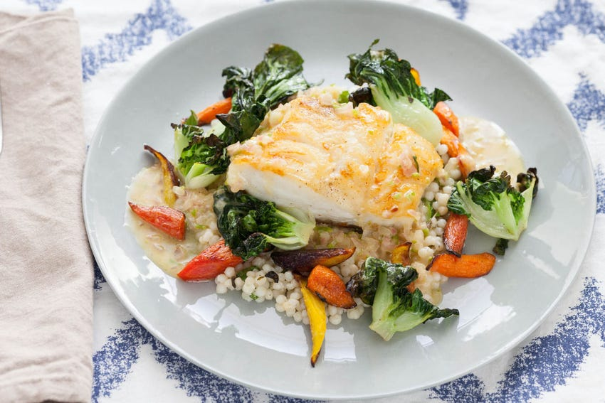 Seared Cod with Makrut Lime Butter Sauce