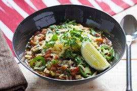 White Bean & Escarole Chili with Sharp Cheddar