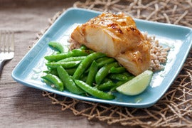Sweet Miso Cod with Snap Peas, Farro & Lime Beurre Blanc