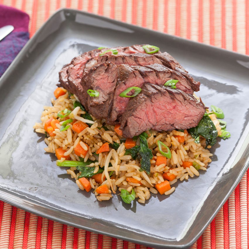 Five-Spice Hanger Steaks with Stir-Fried Brown Rice