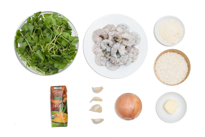 Shrimp Risotto with Watercress ingredients