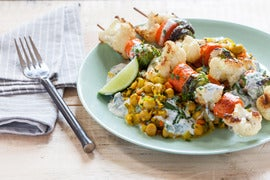 Roasted Vegetable Kebabs with Curried Chickpeas & Yogurt Sauce