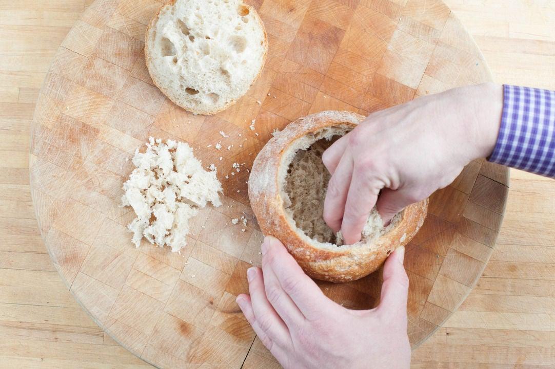 Prepare the bread bowls: