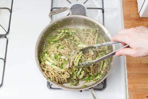 Combine the vegetables, pasta & pesto: