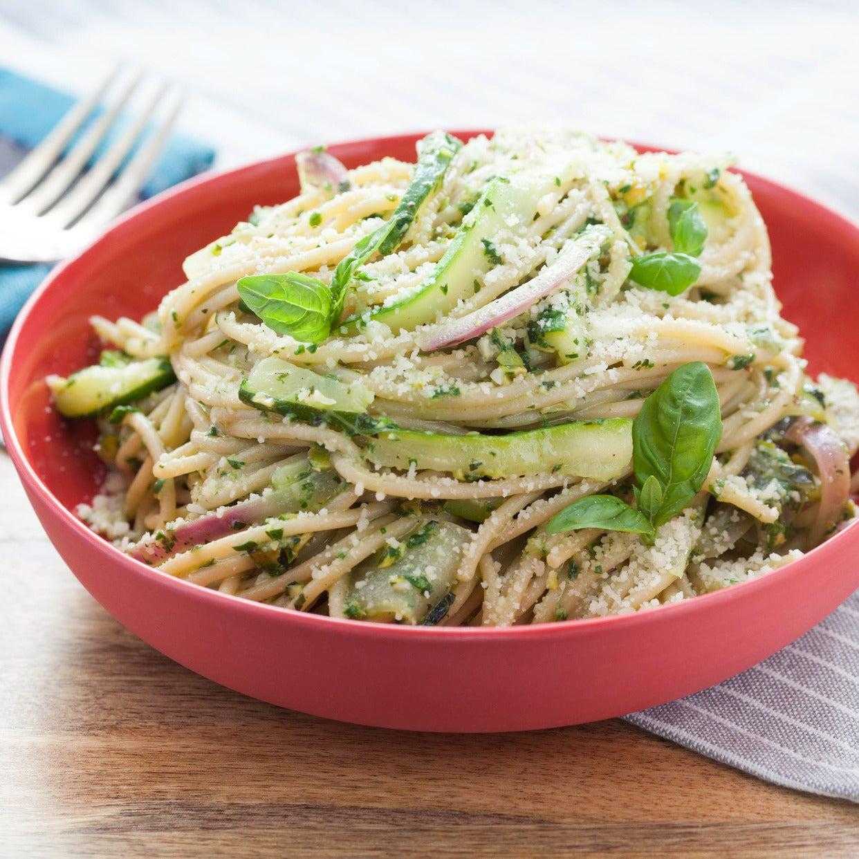 Whole Wheat Spaghetti & Zucchini with Pistachio-Spinach Pesto