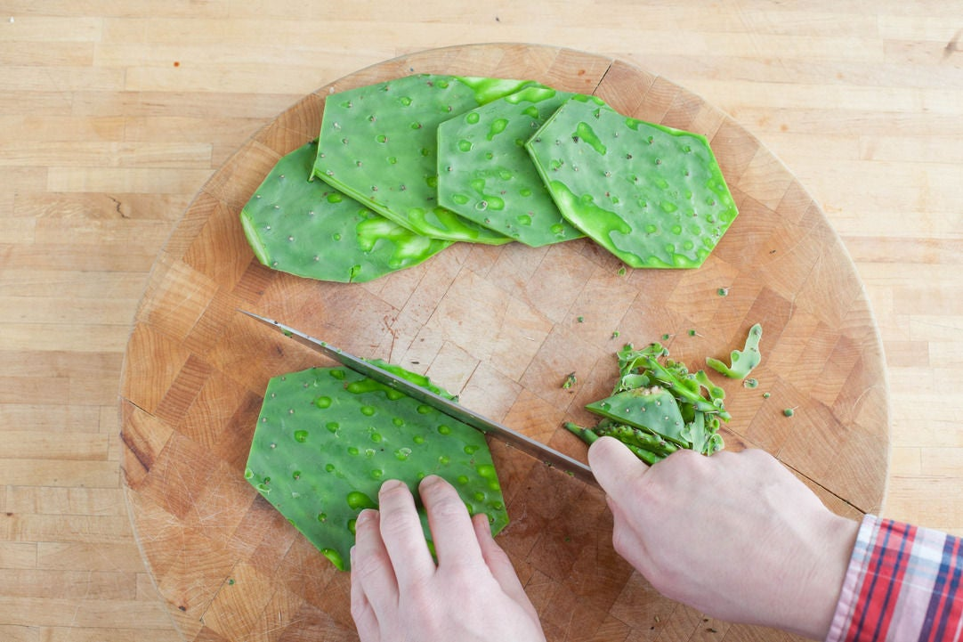 Prepare the nopales: